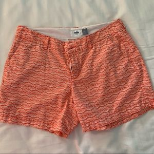 Pink/Salmon colored fish shorts from Old Navy
